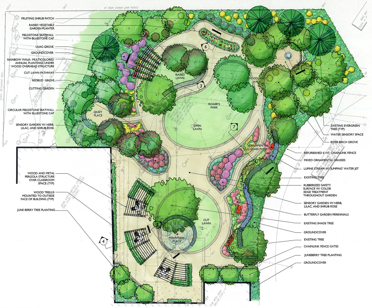 W e carter school sensory garden for Plan rendering ideas